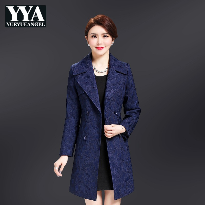 Elegant Office Ladies Slim Medium Length   Trench   Coats Long Sleeve Double Breasted Lapel Adjustable Waist Womens Coats Plus Size
