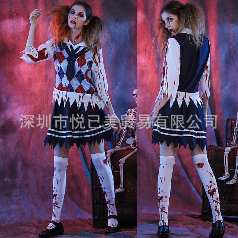 התקפה על טיטאן ליל כל הקדושים תלבושות לילדים אימה בלאדי תלמיד Cos נשי תלמידים עם דם רפאים בגדי כלה