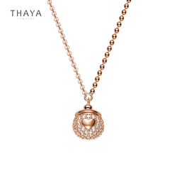 Thaya prawdziwe s925 srebrny żołądź naszyjnik 45cm Plated 18k Rose pozłacany wisiorek łańcuch dla mody panie kobiety biżuterii prezent