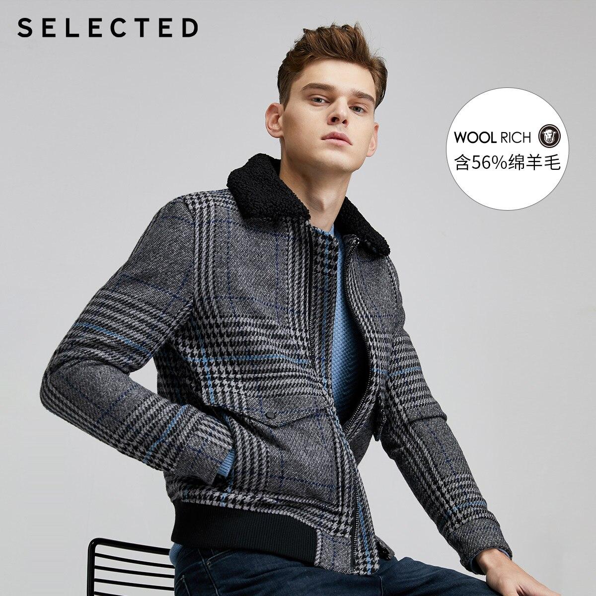 SELECTED Woolen Contrast Plaid Tide Jacket Men Casual Wool Outwear S 419427562