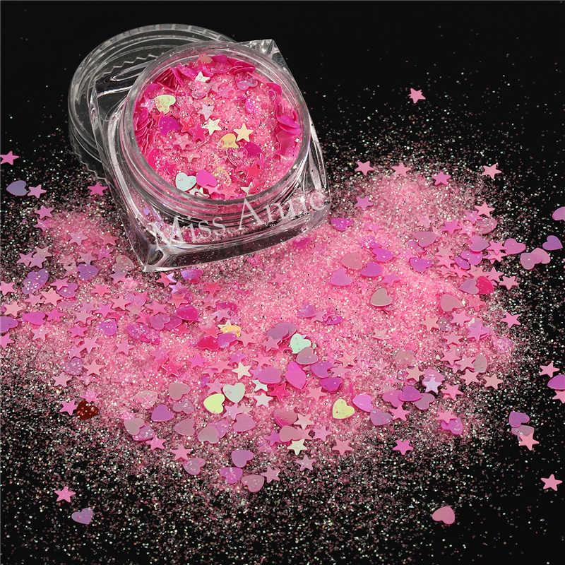 Fantasi Glitter Payet Permen Warna Kuku Paillettes Cinta Bintang Campuran Magic Powder Payet Kecil Paillette untuk Kerajinan Dekorasi 1jar