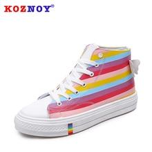 Koznoy Rainbow Canvas Shoes Female Coloured Dropshipping Korean Version High Upper Fashion Breathable Lace Women