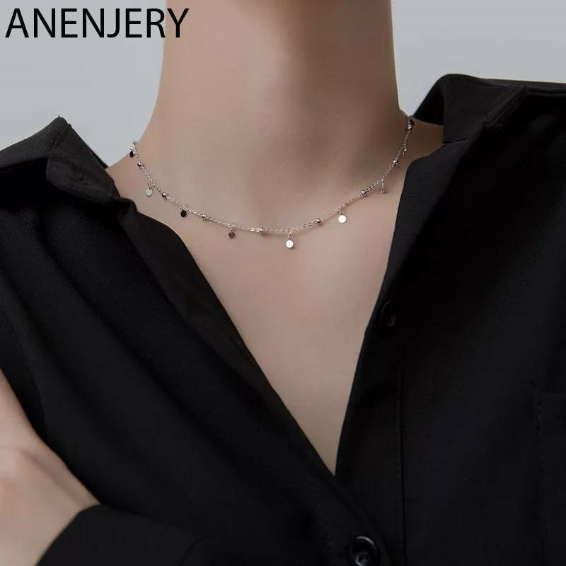 ANENJERY 925 Sterling Silver Round Bead Discs Clavicle Chain Choker Necklace for Women Party Necklace Wholesale S N695