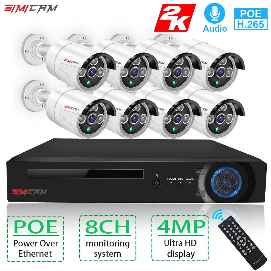 Video surveillance 8ch 4MP poe ip camera NVR KIT cctv security system set Indoor Outdoor Record Audio 2k HDMI P2P Alarm simicam image