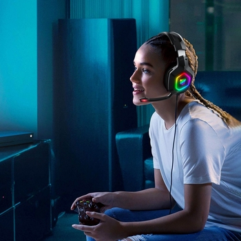 ONIKUMA  K10 Head-Mounted Professional Gaming Headset RGB Colorful Lighting Mic PC Phone PS4 XBOX Switch Gamer Wired Headphone 2