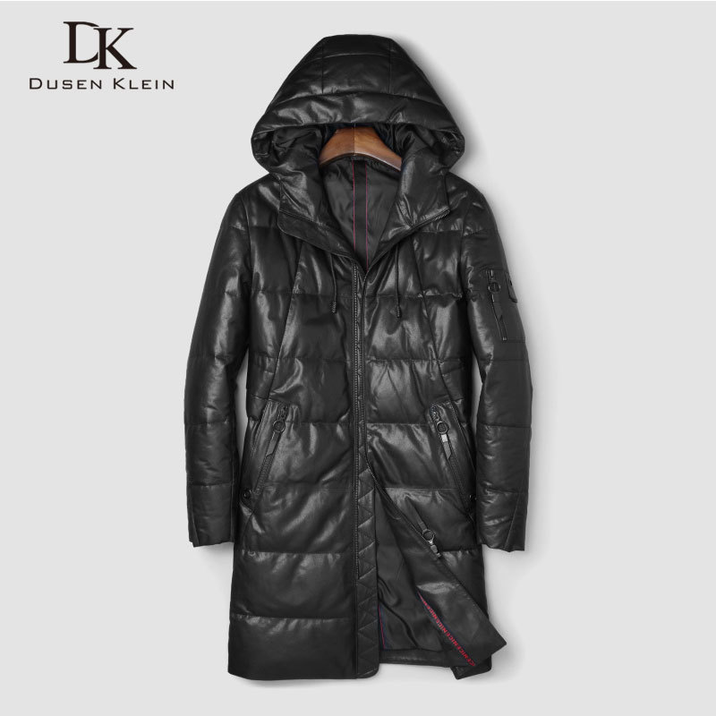 Men's Genuine Leather Down Jackets And Coats Warm Sheepskin Hooded Outerwear Long  New Designer Brand Thick Jacket J18508