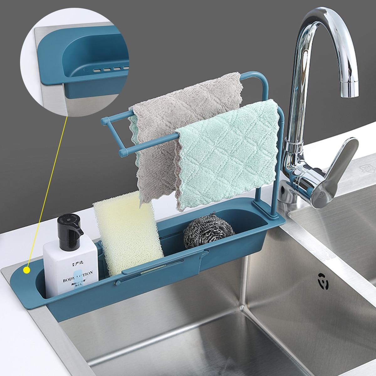Küche Teleskop Waschbecken Rack Küche Abtropffläche Rack Lagerung Korb Tasche Wasserhahn Halter Einstellbar Bad Halter Waschbecken Küche Werkzeug
