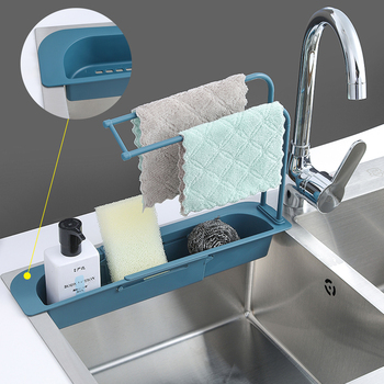 Kuchnia teleskopowy zlew organizator stojaków ociekacz ze stojakiem przechowywania kosz torba uchwyt kran regulowany uchwyt łazienka zlew #8230 tanie i dobre opinie CN (pochodzenie) Z tworzywa sztucznego Soap Sponge Drain Faucet Holder Telescopic Sink Shelf Bathroom Holder Sink Drain Basket For Home Kitchen Household