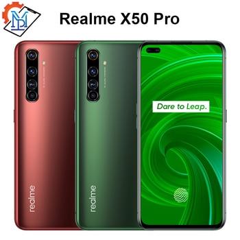 Перейти на Алиэкспресс и купить Оригинальный мобильный телефон Realme X50 Pro, экран 5,44 дюйма, SuperAmoled, 8 ГБ + 128 Гб, Snapdragon 865, Android 10,0, 65 Вт, смартфон Superdart Charge