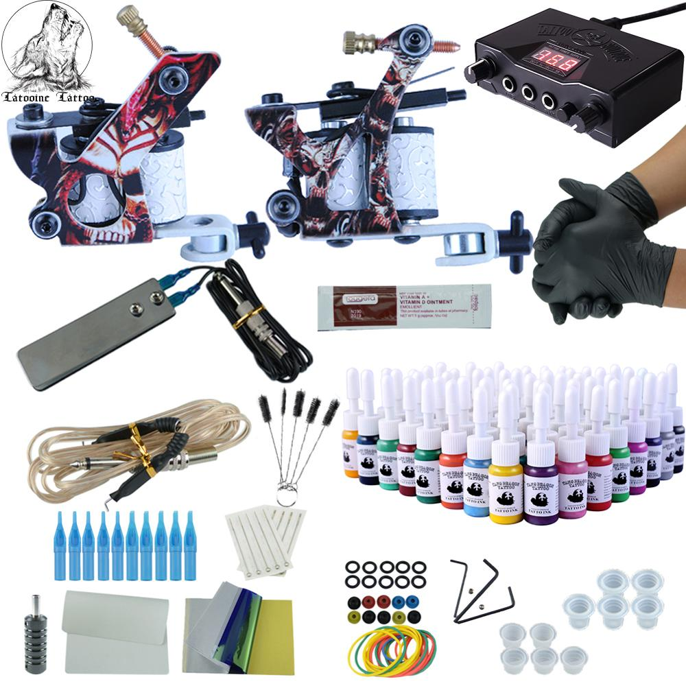 Complete Tattoo Kit 2 Guns Immortal Color Inks Power Supply Tattoo Machines Needles Tattoo Accessories Kits Permanent Makeup Kit