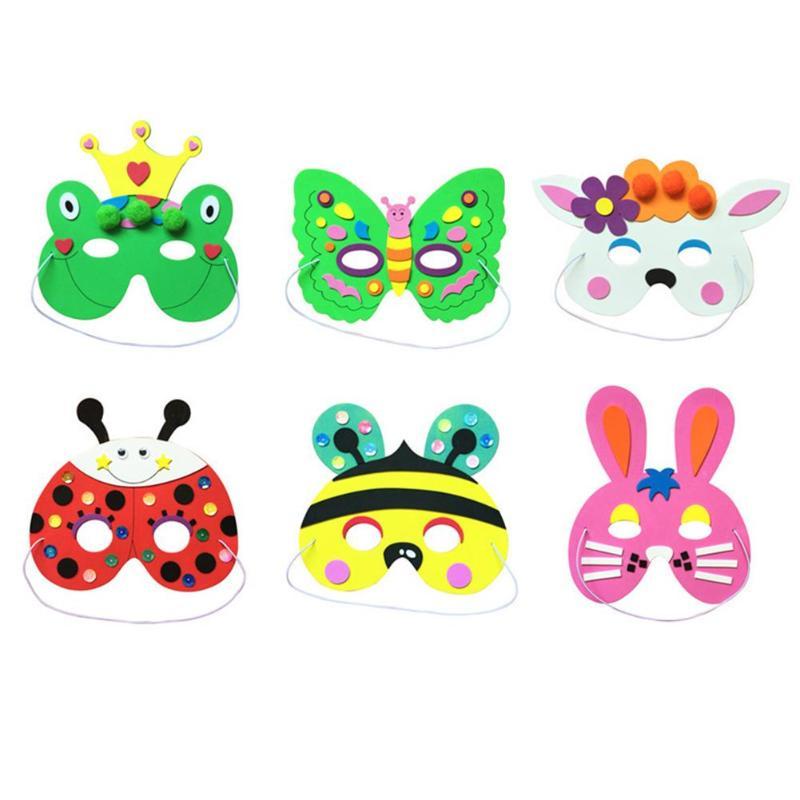 Children's EVA Cartoon Mask Kindergarten DIY Animal Bag Sponge Glue Handmade Party Mask Develop Thinking And Creativity