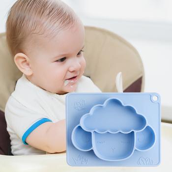 Jedzenie obiadowy anty-gorący talerz treningowy miska do karmienia niemowląt zastawa stołowa bezpieczne przyssawki płytki talerz anty-gorący talerz treningowy tanie i dobre opinie SILICONE CN (pochodzenie) Usługi płyta tacy Stałe Food Plate 23*18 3cm 9 1*7 2in 3 months or more baby Pink Champagne Green Blue