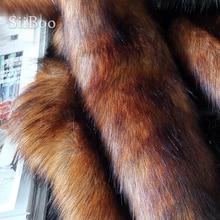Wysokiej jakości brązowy 5cm pluszowe faux futra lisa tkaniny na płaszcz zimowy kamizelka futro kołnierz 180*50cm 1pc długie włosy futra lisa tissu telas SP4581