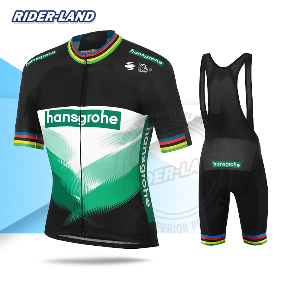 New 2020 Men Cycling Clothing Boraful Hansgrohe Jersey Set Peter Sagan Short Sleeve World Champion Team Bike Summer Race Uniform
