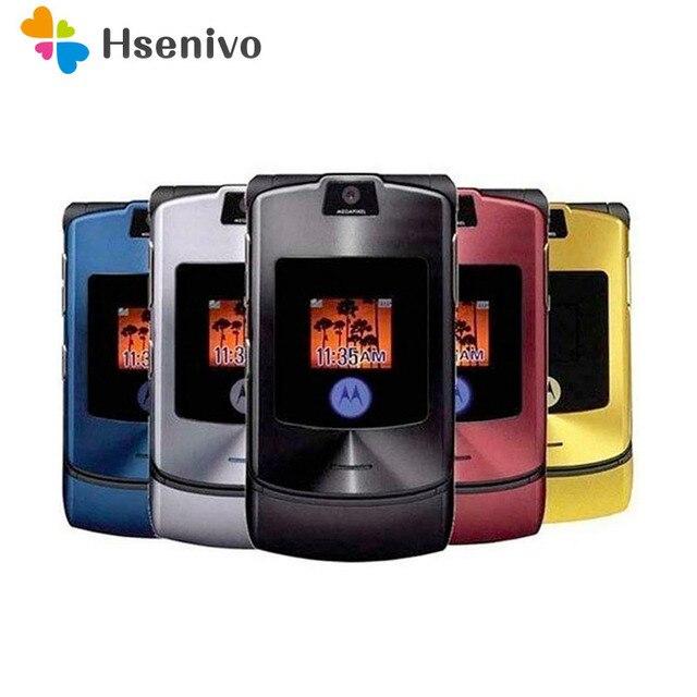 الأصلي موتورولا رازر V3i 100% مقفلة الوجه GSM بلوتوث MP3 رباعية الفرقة الهاتف الخليوي المحمول تجديد شحن مجاني