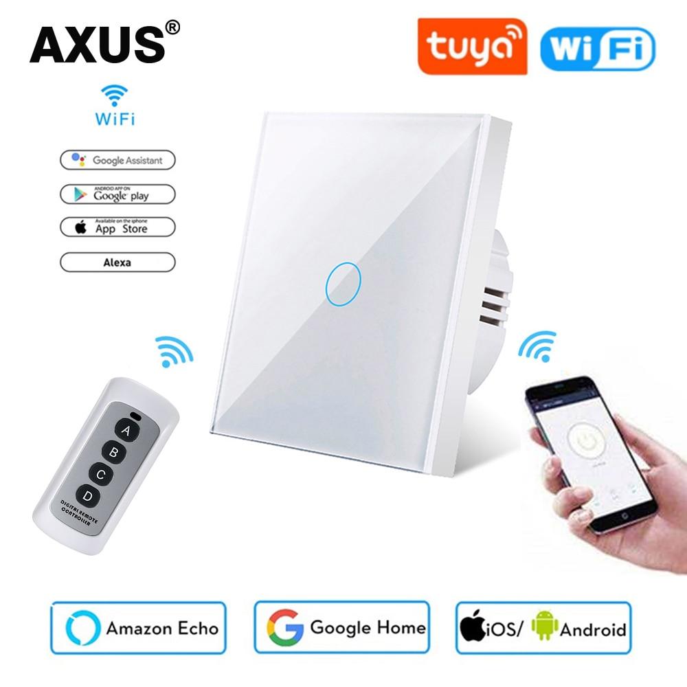AXUS EU Standard Tuya Smart Life 1 Gang 1 Way WiFi Wall Light Touch Switch for Google Home  Alexa Voice Control No Need Neutral