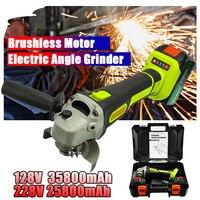 Moedor de ângulo elétrico 128 v/228 v sem fio grande capacidade bateria polisher polimento moagem máquina madeira metal ferramenta corte conjunto|Moedores| |  -