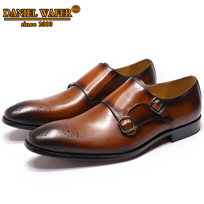 GENUINE LEATHER MEN SHOES HIGH GRADE SLIP ON MONK STRAP MEDALLION BROWN CASUAL SHOES MEN WEDDING OFFICE FORMAL LOAFERS MEN SHOES