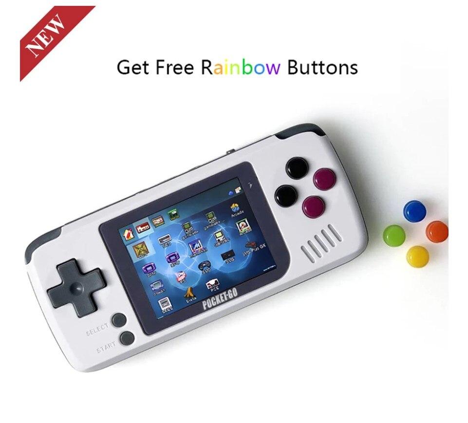 V2 pocketgo console de jogo 2.4 polegadas tela retro console de jogo com 32g tf cartão nes/gb/gbc/snes/smd ps1 game console