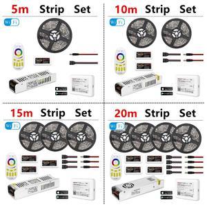 Image 2 - 5050 RGBW RGBWW RGB 미 라이트 WIFI LED 스트립 방수 5M 10M 15M 20M DC 12V LED 빛 60led/m RF 원격 컨트롤러 전원