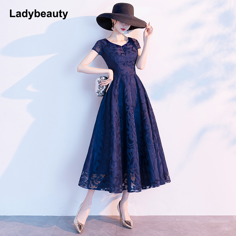 2020 New Arrival Short Sleeve Black Simple Lace Elegant Cocktail Gowns Back Zipper Cocktail Dress
