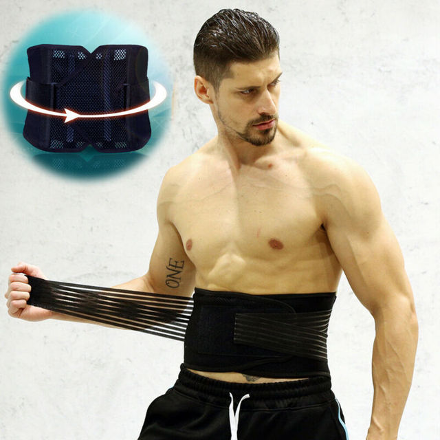 Men Support Waist Belt Sweat Waist Trainer Trimmer Belt Body Shaper Wrap Weight Loss Belt Black