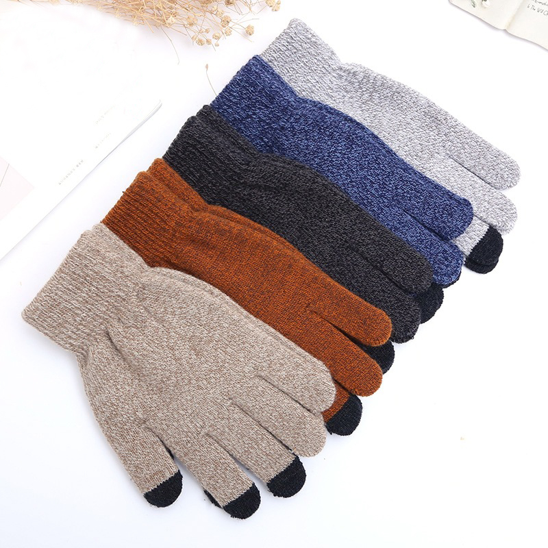 Sparsil Unisex Winter Knitting Touch Screen Gloves Solid Fashion Thick Keep Warm Mitten Spring Autumn Non-slip Woman Man Glove