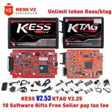 אדום KESSv2 V5.017 V2.53 KTAG V7.020 V2.25 אין אסימון הגבלה 4 LED ECU מתכנת כלי קס V2 V5.017 KTAG v7.020 עבור מכונית משאית