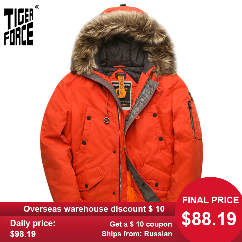 TIGER FORCE Parka Men's Winter Jacket Water Resistant Hooded Jacket Quilted Ski Snowjacket Extremely Cold Russia Man Coat