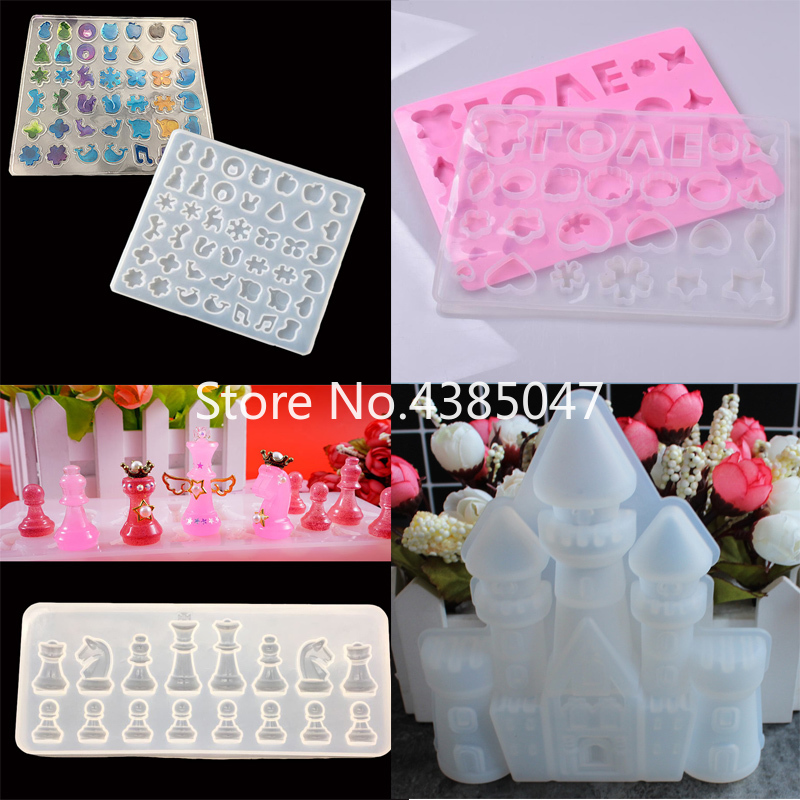 1PC Love Castle Chess Liquid Silicone Expoxy Mold Resin Jewelry Mold UV Pendant Jewelry Accessories Handcraft Earrings Tool