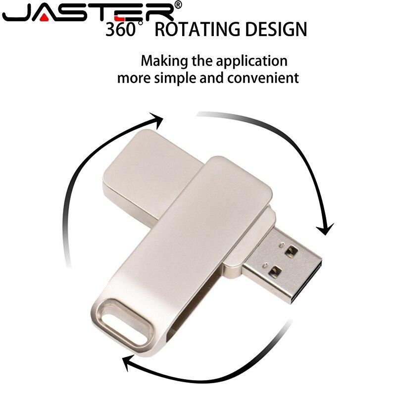 JASTER USB 2.0 Metal Flash Drive High Speed 64GB 32GB 16GB4GB Memory Stick Pendrive USB Real Capacity Mini U Disk 1PCS Free Logo