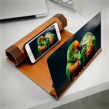12 zoll Handy 3D Bildschirm Video Lupe Folding Gebogene Vergrößert Smartphone Film Amplifying Projektor Holz Ständer Halterung
