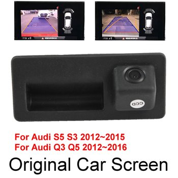 For Audi S5 S3 Q3 Q5 2012~2015 Original Car Screen Dynamic Trajectory Upgrade Reverse Image Parking Rear Camera Trunk Handle car rear reverse camera for volkswagen vw touareg 2014 2015 2016 original screen upgrade dynamic trajectory image auto cam