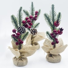 2019 Unique Christmas Tree With Pine Branch Red Cones Desktop Decoration Festival Party Supplies
