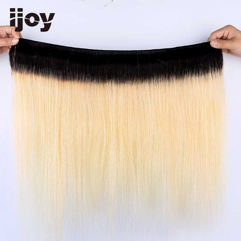 Straight 8''-20'' H Brazilian Non-Remy Ombre 613 Bundles With Closure 4x13 Lace Platinum Blonde 100% Human Hair Extensions IJOY