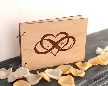 Ślub-księga gości-prysznic-nieskończoność-ślub-pamiątka-ślub-księga gości-rustykalne-niestandardowe-wesele-wesele-notatnik-serce-miłość tanie i dobre opinie