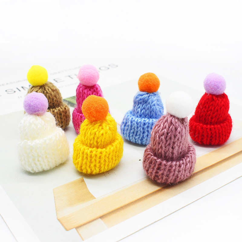 20pc Pompoms Knitting Mini Hats DIY Craft Supplie Headwear Brooch Crochet Toys Decor Jewelry Doll Accessory Small Caps Handmade