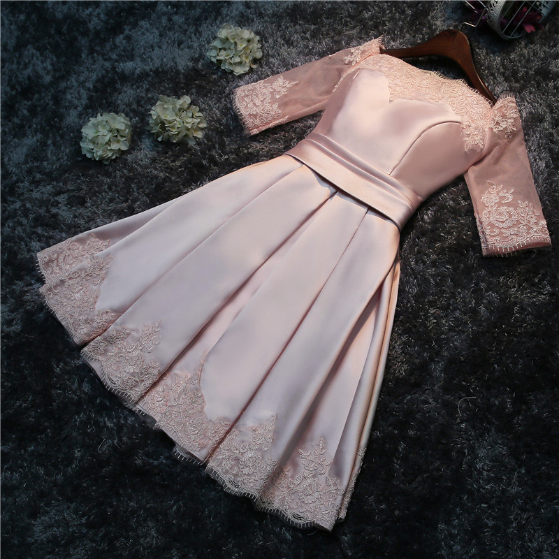 Short Bridesmaid Dresses Special Occasion Dresses A-Line Boat Neck Satin Lace Appliques Knee-Length Vestido Azul Marino