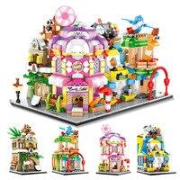 Toys For Children City Street Model Model Kit Compatible Legoing DIY Assembled Educational Building Blocks Brick Kids New O38