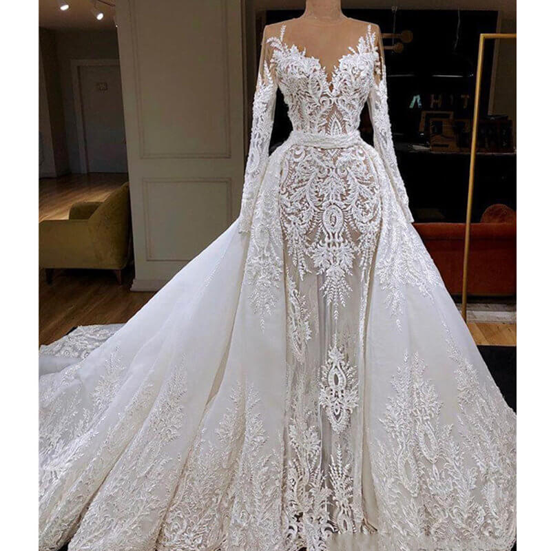 Vestido De Noiva 2020 Long Sleeve Mermaid Wedding Dress With Detachable Train Luxury Dubai Sheath Lace Appliqued Bridal Gown