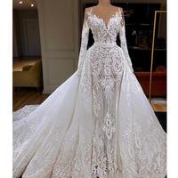 Vestido De Noiva 2020 Long Sleeve Mermaid Wedding Dress With Detachable Train Luxury Dubai Sheath Lace Appliqued Bridal Gown