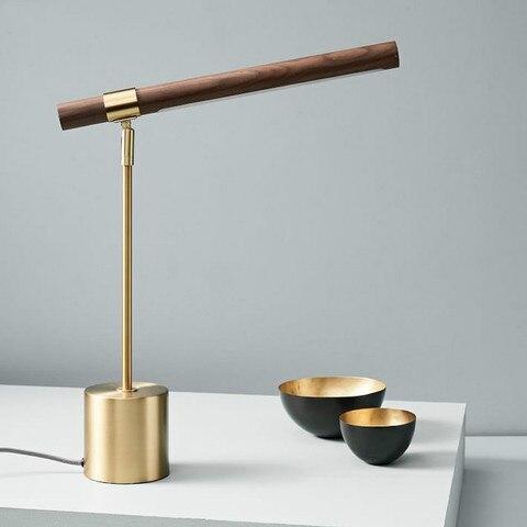 nordic minimalista grao de madeira cobre led luzes mesa italiano designer quarto lampada cabeceira luxo