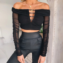 Goocheer 2019 mesh patchwork long sleeve slash neck sexy  tops women V-neck hollow out black streetwear club T-shirts