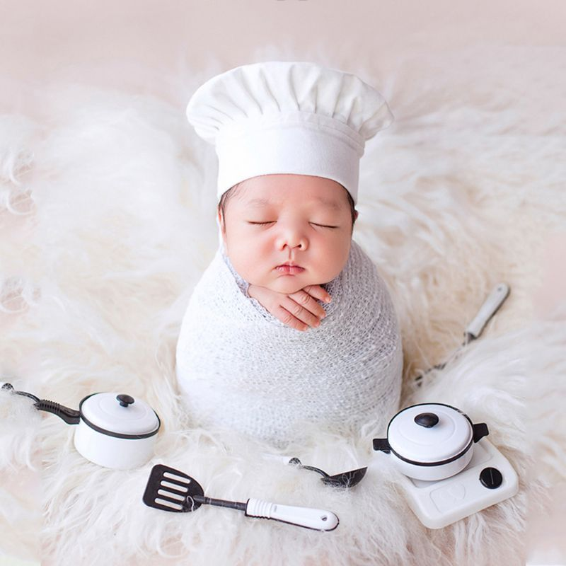 Baby Photography Props Little Chef Hat White Stretch Wrap Little Cook Creative Props Newborn Photography Accessories