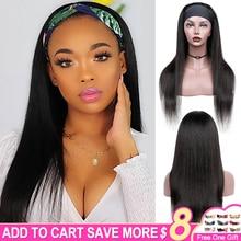 Aircabin Headband Wig Human Hair Bone Straight Glueless Brazilian Remy Hair Headband Wigs For Black Women Half Wig