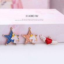 2019 New Design alloy cute earrings for girls star Heart-shaped drop Earrings For Women sweet Pendant Diy jewelry accessories heart design drop earrings