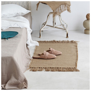Jute Rug Area Rugs Macrame Table Runner Tables Cloth Decoration Carpet with Tassels Badroom Floor Mats Nordic Chic Room Decor(China)