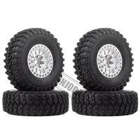 INJORA 4Pcs 1.9 Beadlock Wheel Rim Rubber Tire Set for 1/10 RC Crawler Traxxas TRX-4 Axial SCX10 90046 D90 Voodoo KLR 5