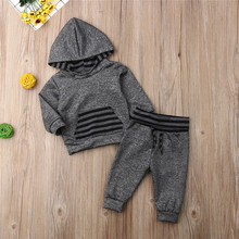 2PCS Newborn Infant Baby Girl Clothes BoyHooded Tops Blouse Pants Autumn Winter Outfits Clothing