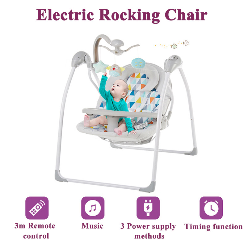 H640add94cba44b278e6c2f2190ebc65fC Babyinner Baby Rocking Chair Baby Bassinet Newborn Electric Cradle Foldable Baby Chair Multifunctional Swing Baby Sleeping Bed